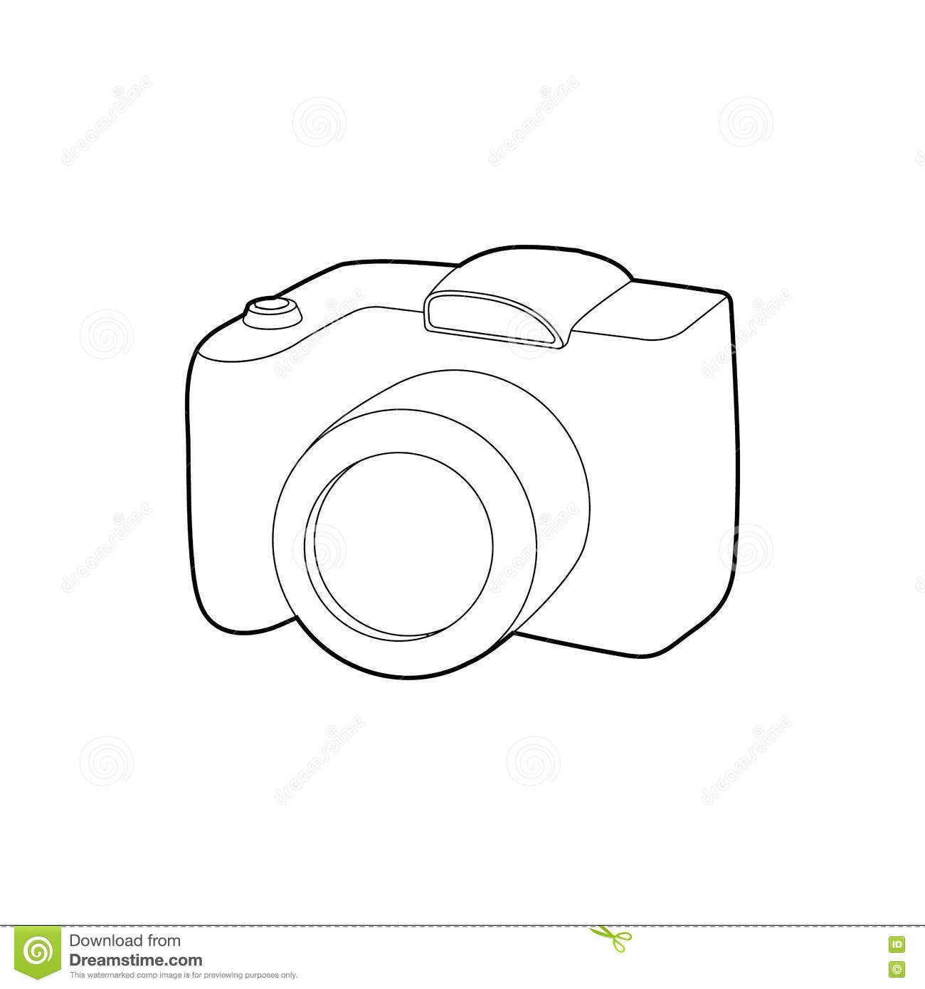 Slr Camera Icon Outline Style Stock Vector Illustration Of Diagram