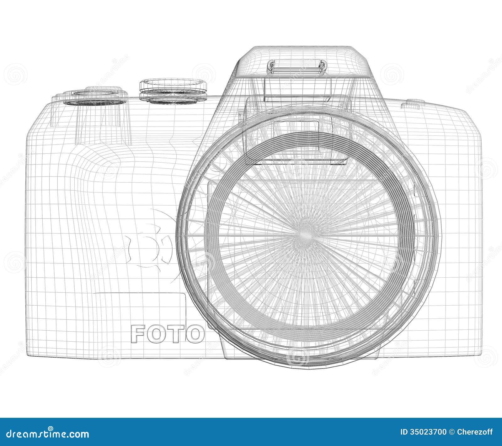 Slr Camera Wire Frame Stock Illustration Of Digicam Diagram