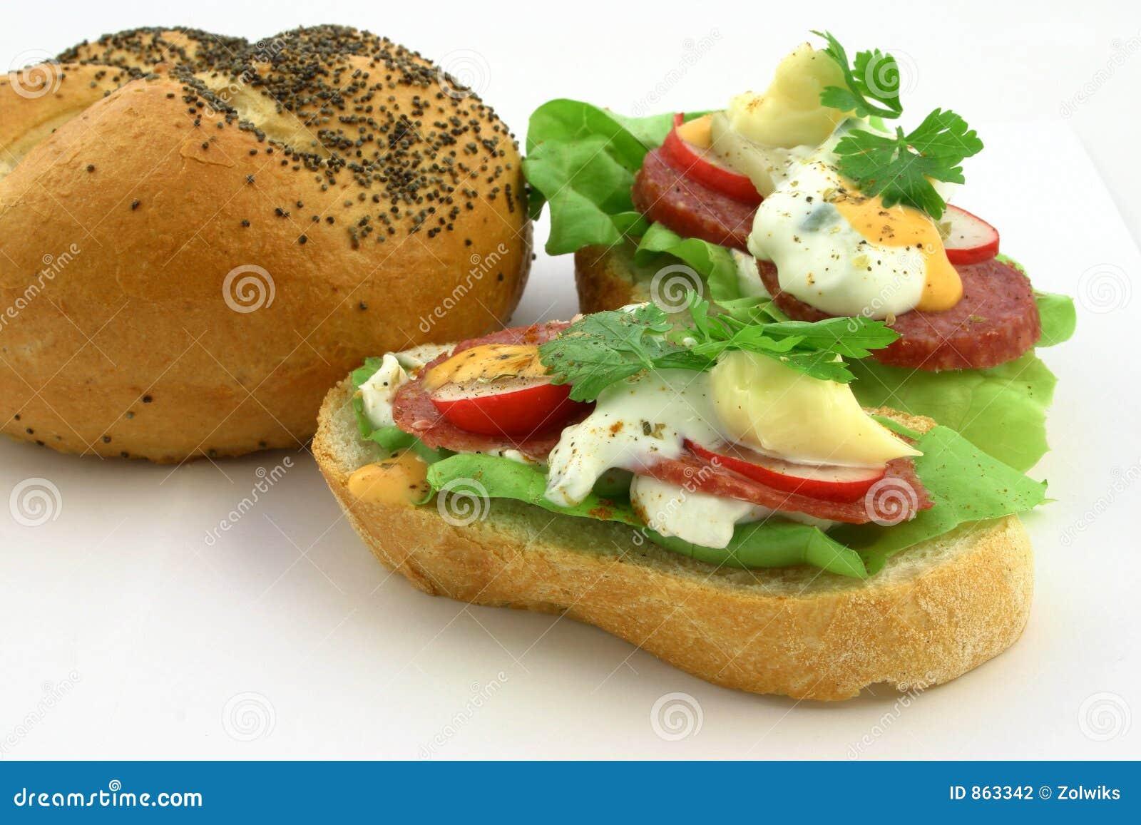 Sluit omhoog bij echte verse sandwiches