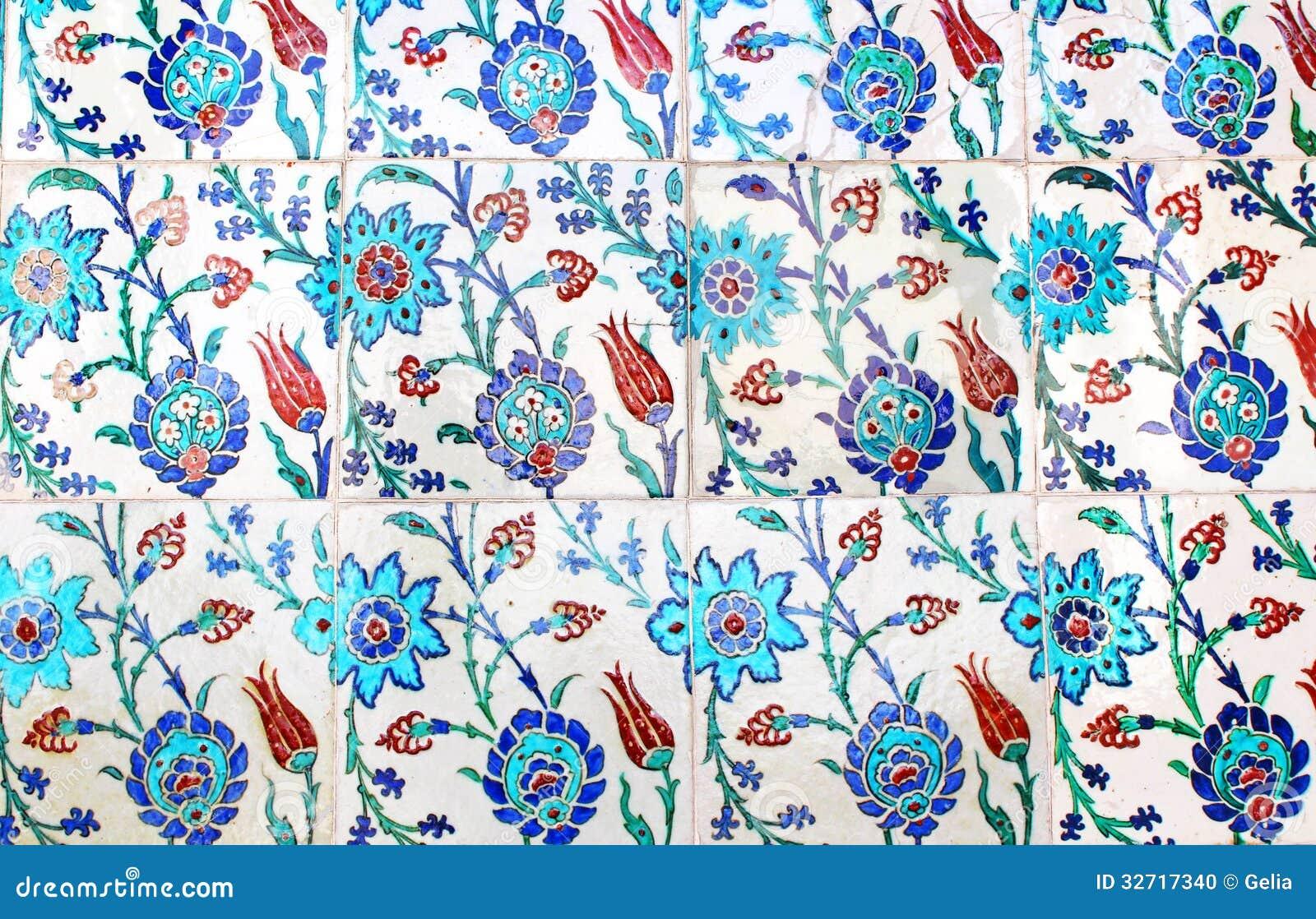 Sluit Omhoog Foto Van Met De Hand Gemaakte Turkse Tegels, In Topkapi Paleis, IST Stock Foto