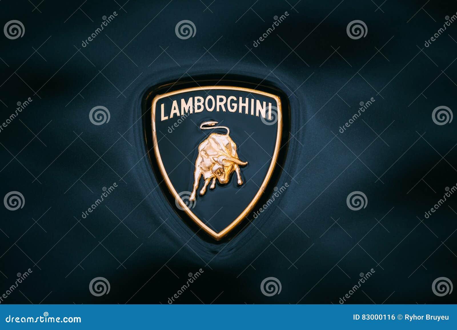 Sluit Omhoog Logo Of Lamborghini Op Donkerblauwe Achtergrond