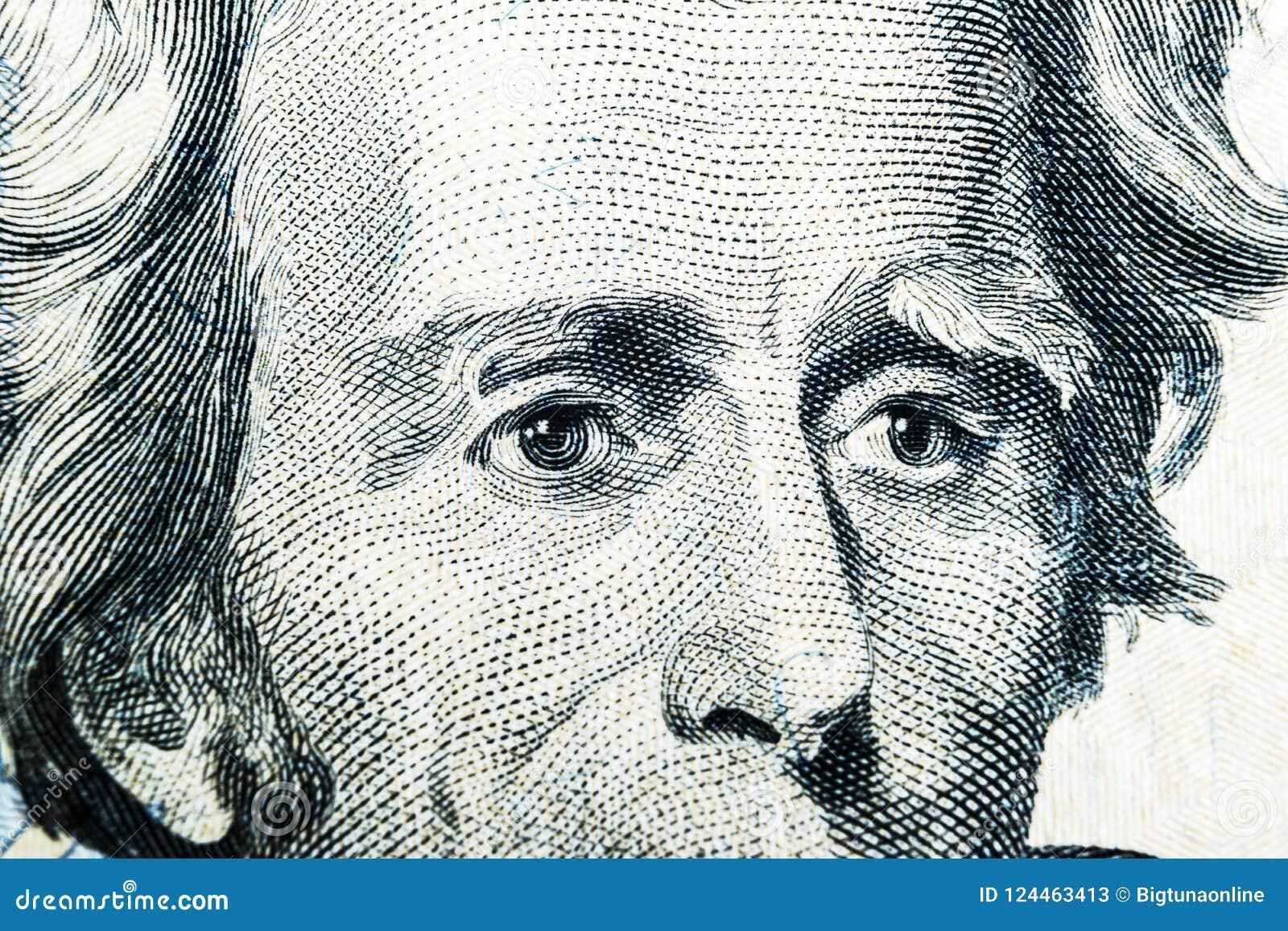 Sluit omhoog meningsportret van Andrew Jackson op twintig dollarrekening Achtergrond van het geld 20 dollarrekening met Andrew Ja