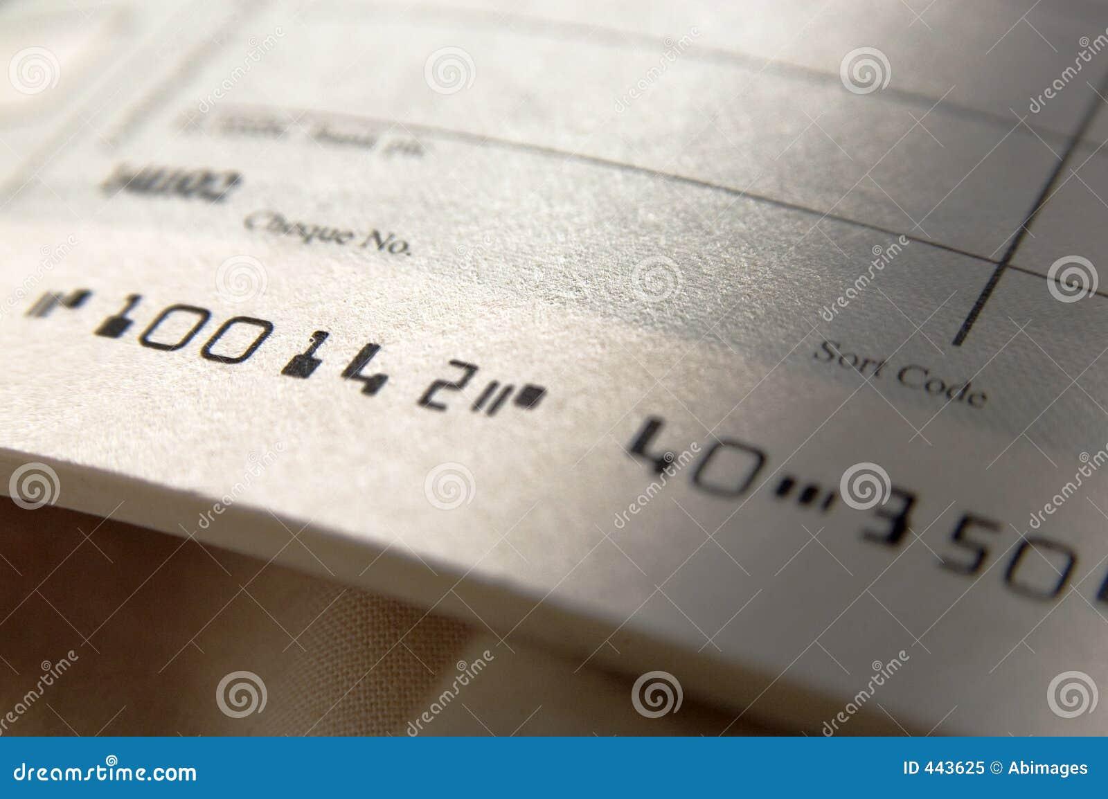 Sluit omhoog van chequeboek