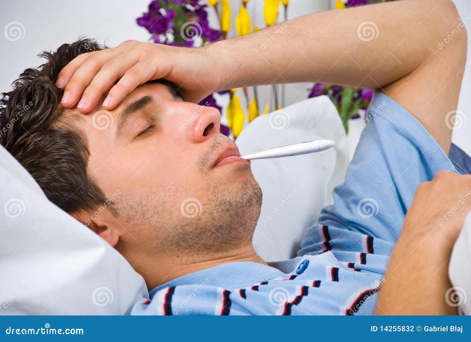Sluit omhoog van de mens met griep