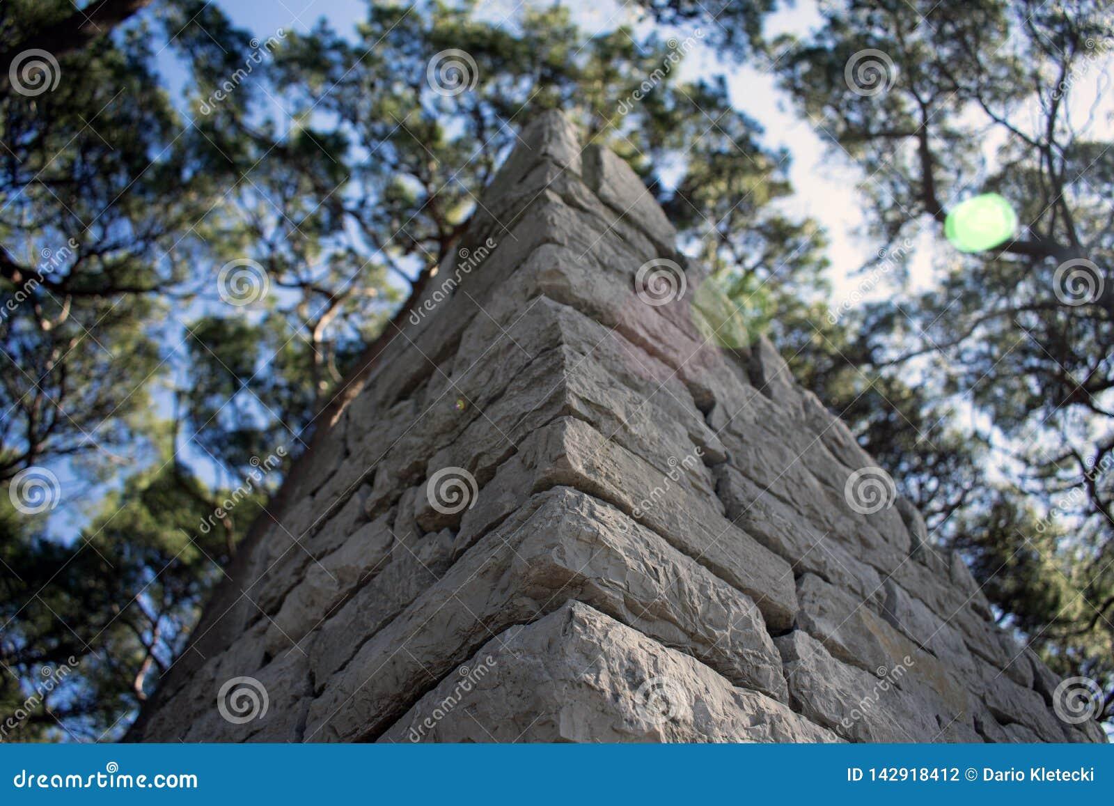 Sluit omhoog van een hoek van de steenmuur, met bomen een hemel