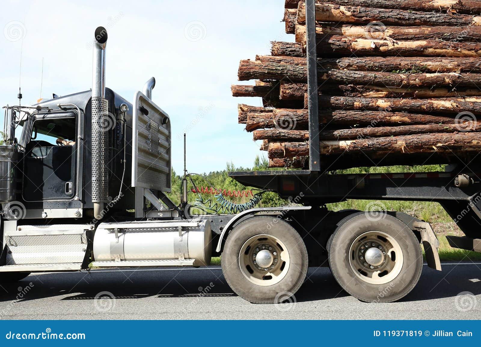 Sluit omhoog van een registrerenvrachtwagen die een volledige lading van logboeken dragen