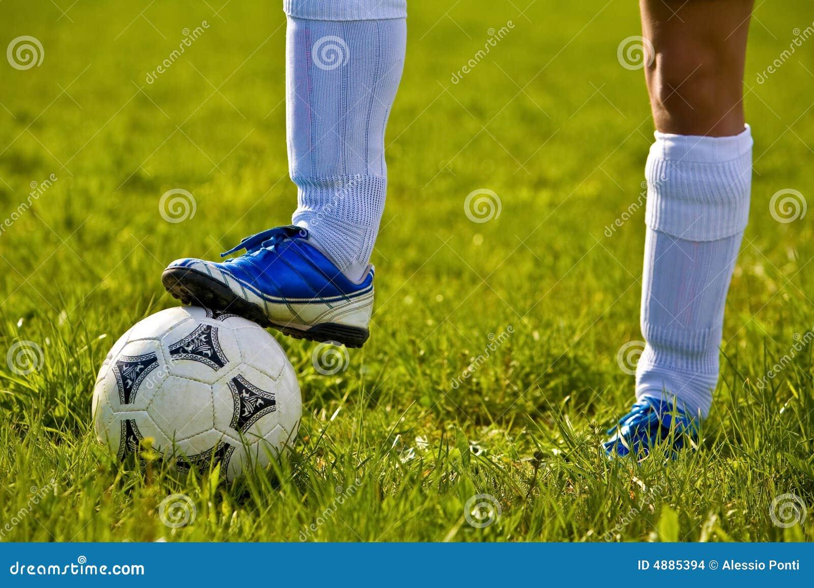 Sluit omhoog van een voetbalbal
