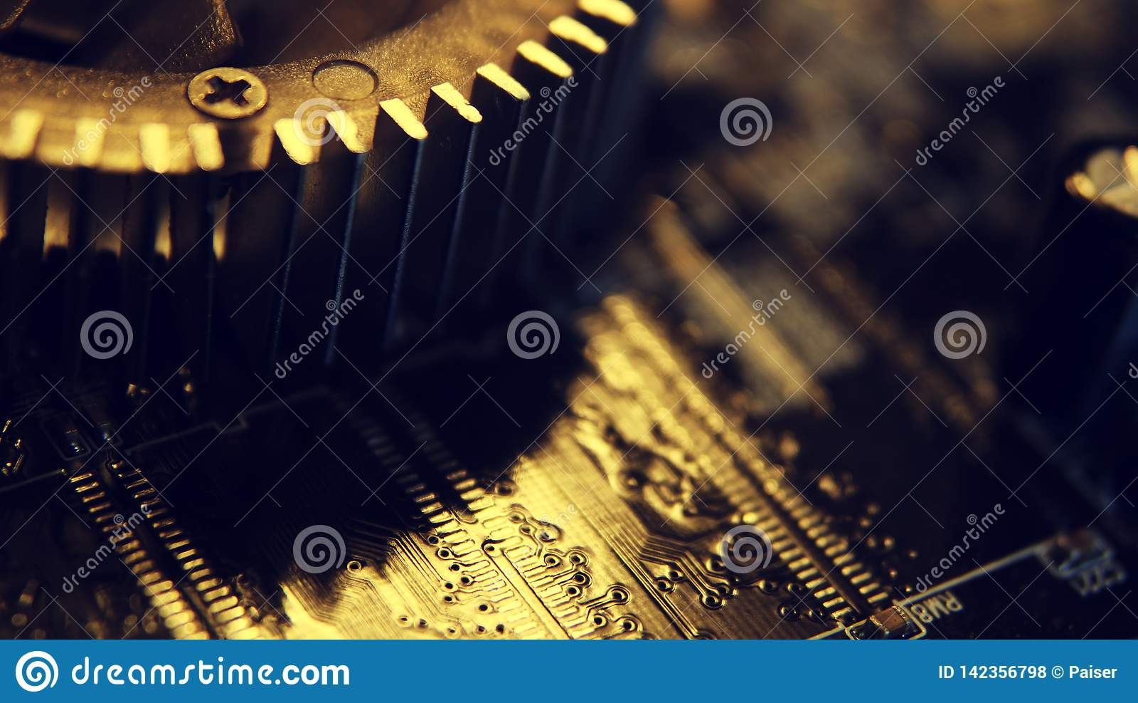 Sluit omhoog van Elektronische Kringen in Technologie op Mainboard, systeemkaart of mobo Computermotherboard, elektronische compo