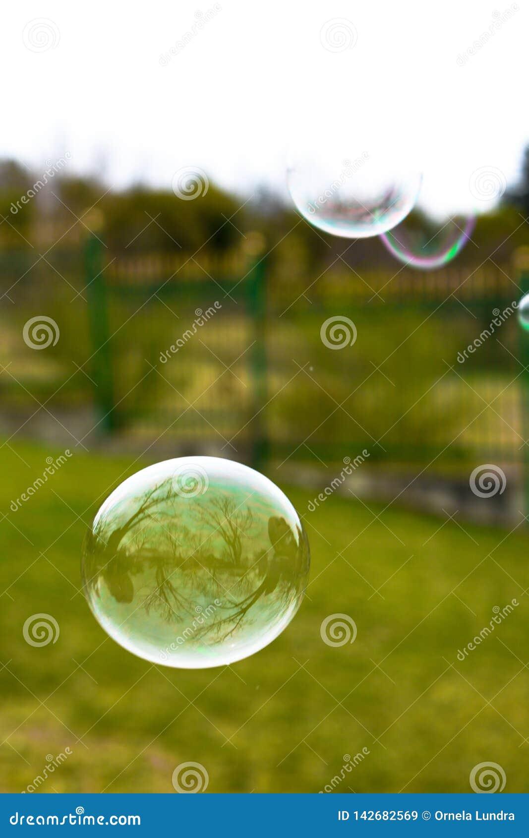 Sluit omhoog van kleurrijke zeepbels
