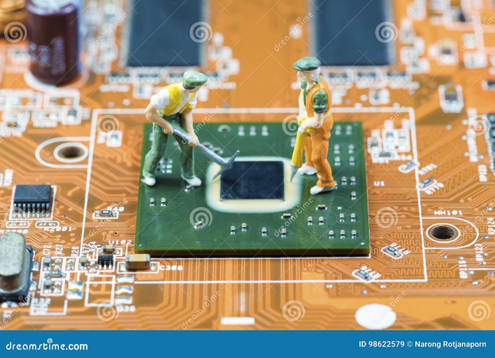 Sluit omhoog van Kringen Elektronisch op Mainboard-van de Achtergrond technologiecomputer logicaraad, cpu-motherboard, Hoofdraad,