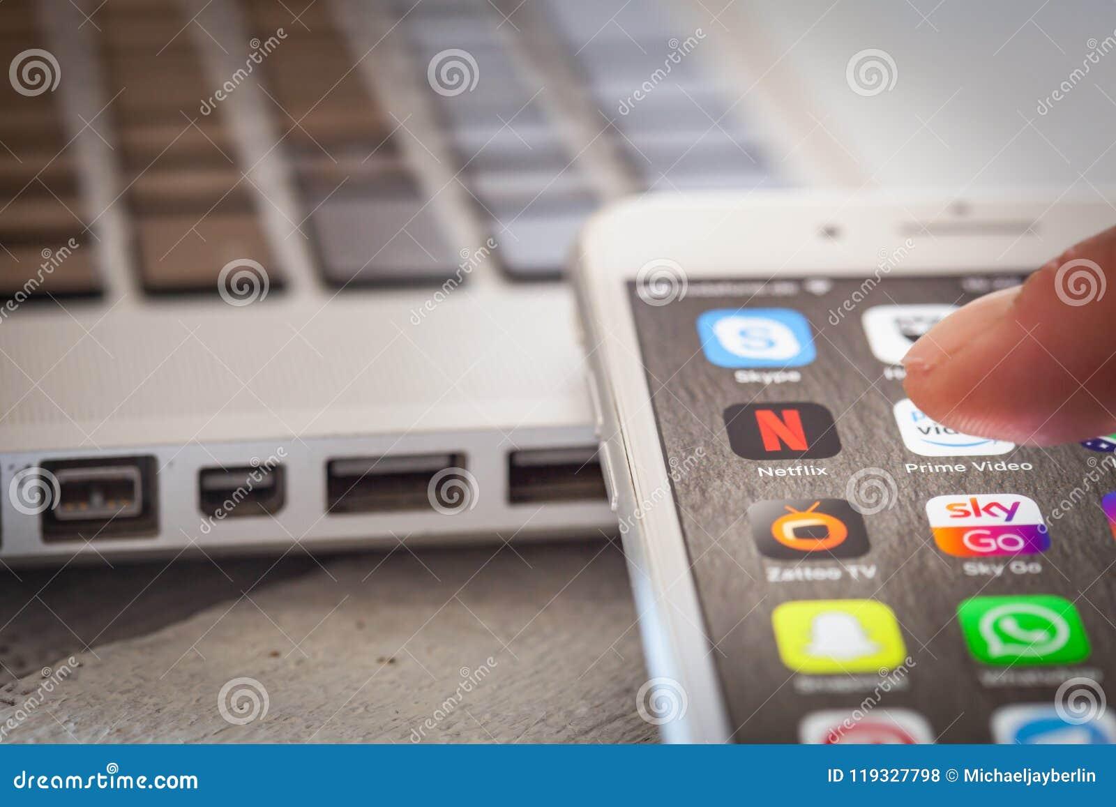 Sluit tot vinger openend Netflix app op iPhone 7 het scherm