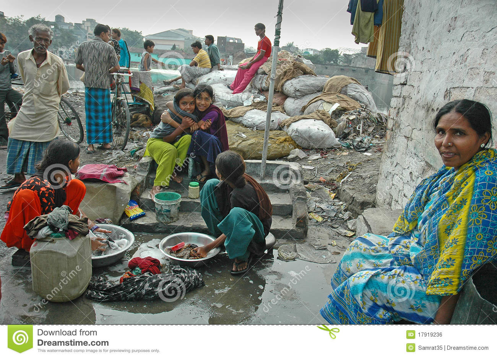 slum dwellers of kolkata-india editorial photo
