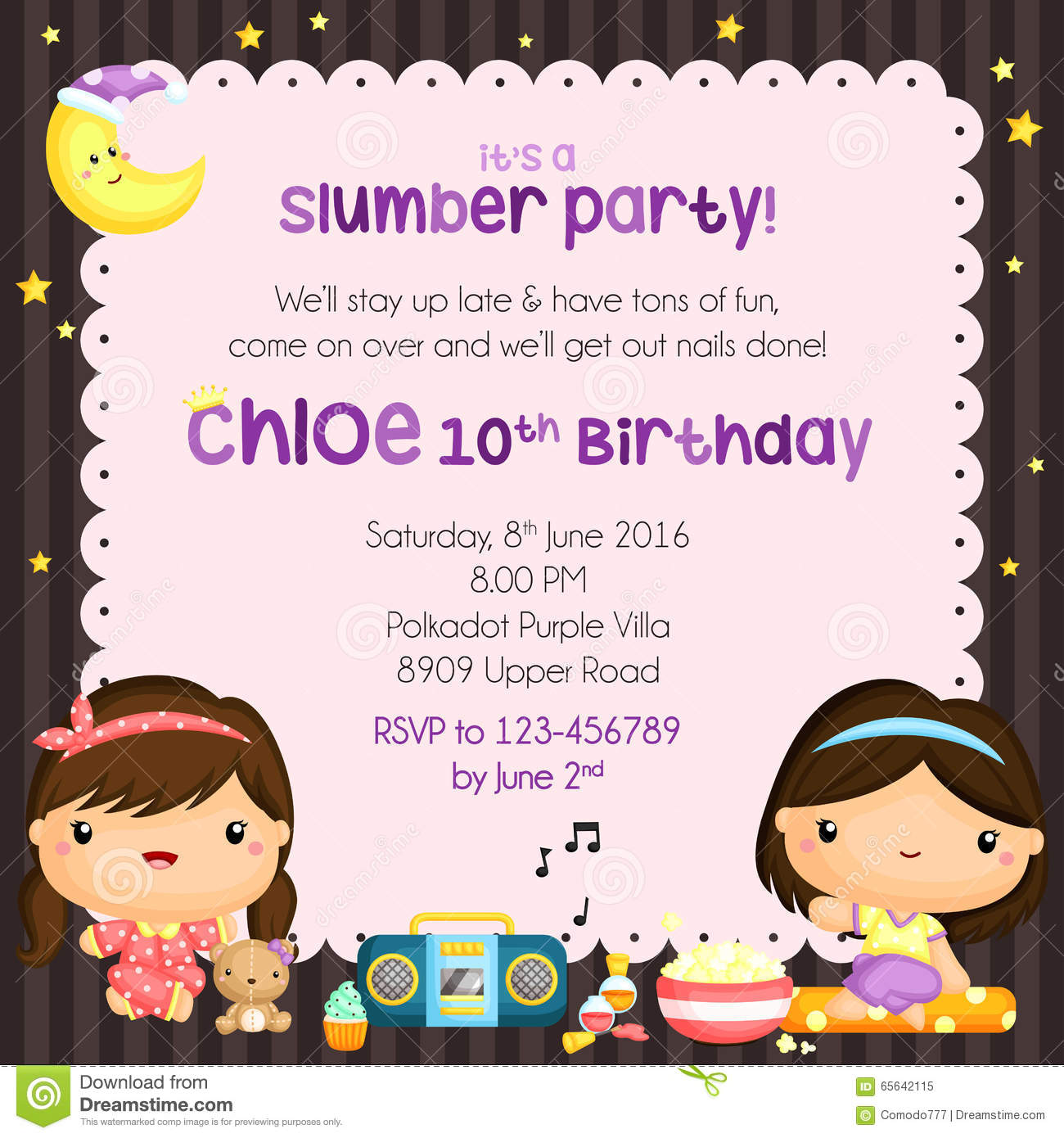 Slumber Birthday Party Invitation Card Stock Vector - Illustration ...