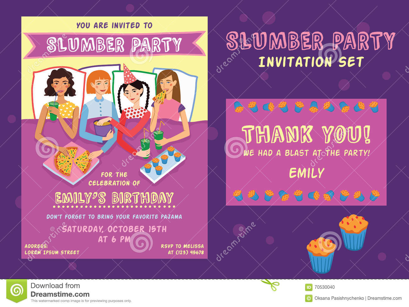 Slumber Party Birthday Invitation Thank You Card Set With Four Cute Girls Friends Vector Illustration Ginger Brunette Blond And Brown Haired Girlfriends