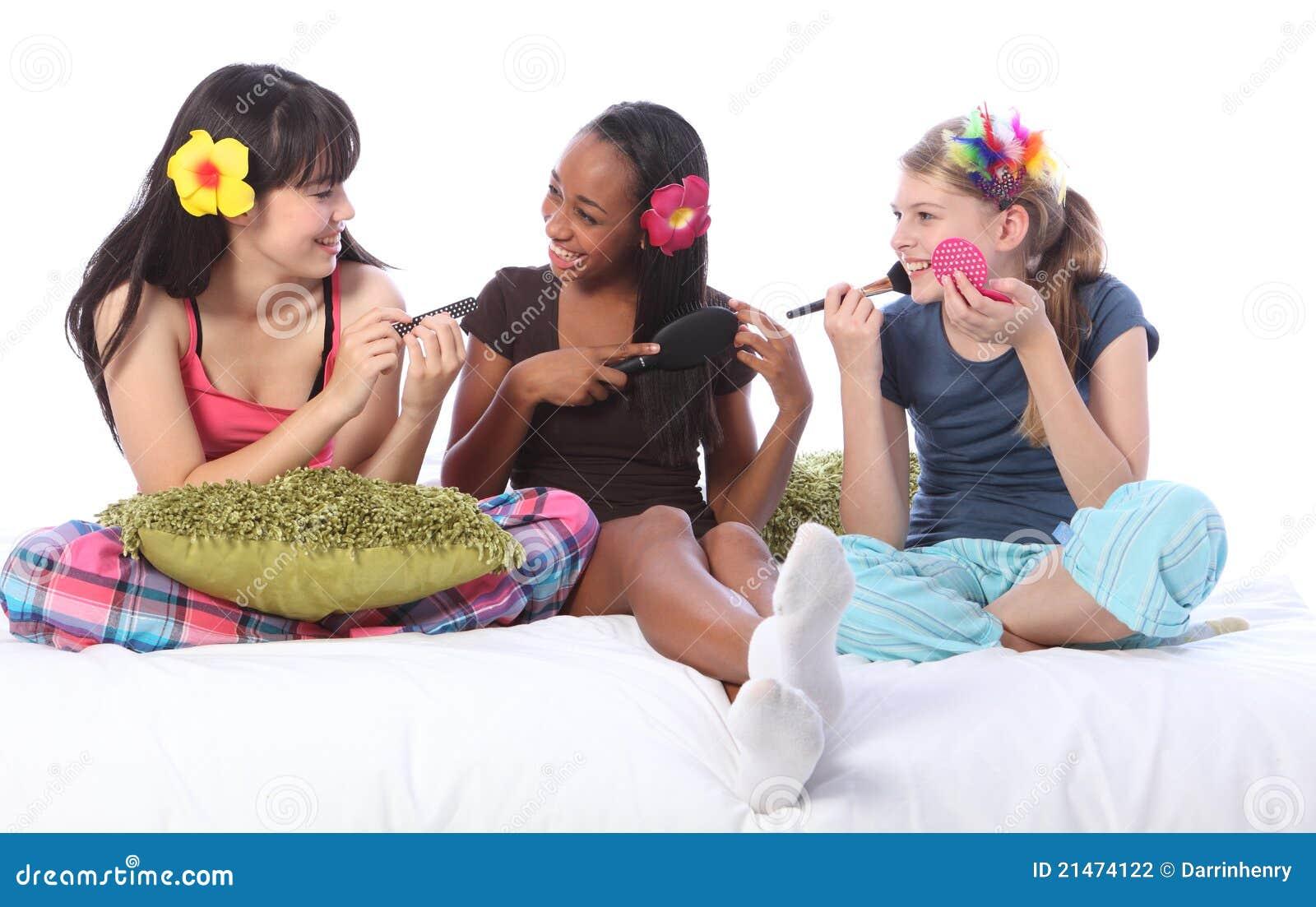 Slumber Party Make Up For Ethnic Teenage Girls Stock Photo ...