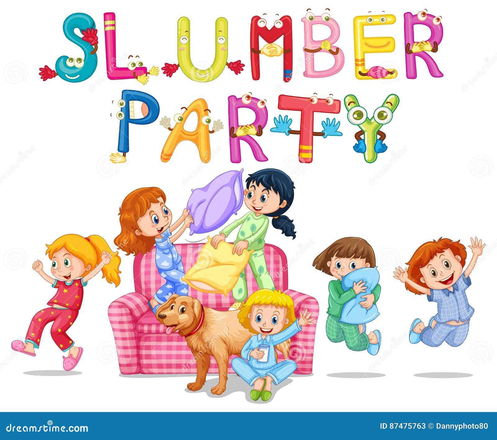 Slummerparti med flickor i pyjamas hemma