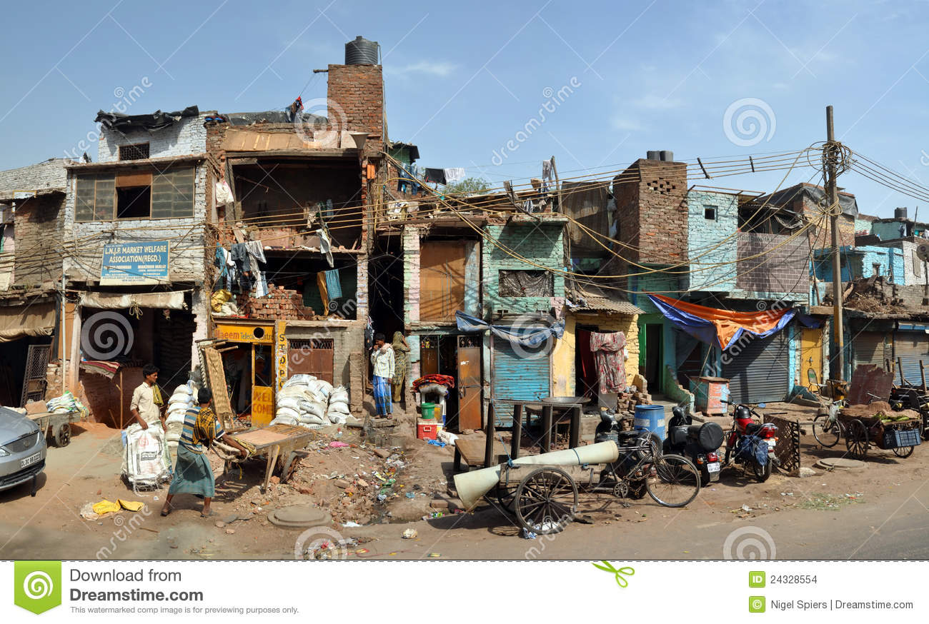 The Slums Of Old Delhi Panorama India Editorial Stock