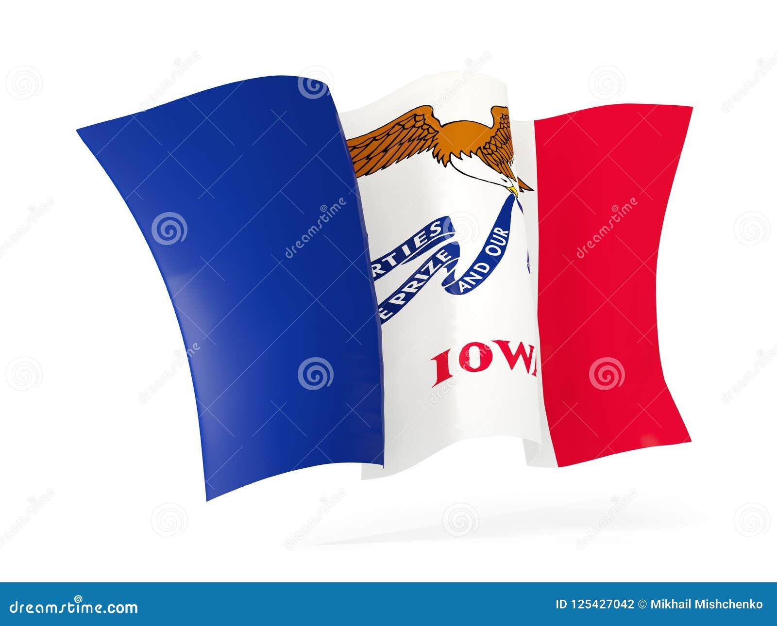 Slut för symbol för Iowa statflagga vinkande upp Förenta staterna lokalflaggor