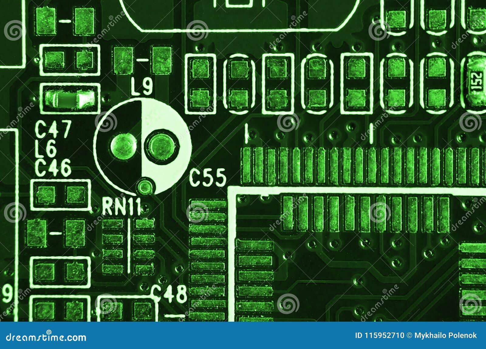 Slut upp av det kulöra mikroströmkretsbrädet abstrakt bakgrundsteknologi Datormekanism i detalj