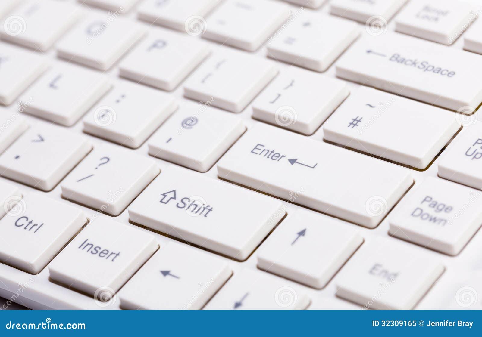 Slut upp av det vita tangentbordet