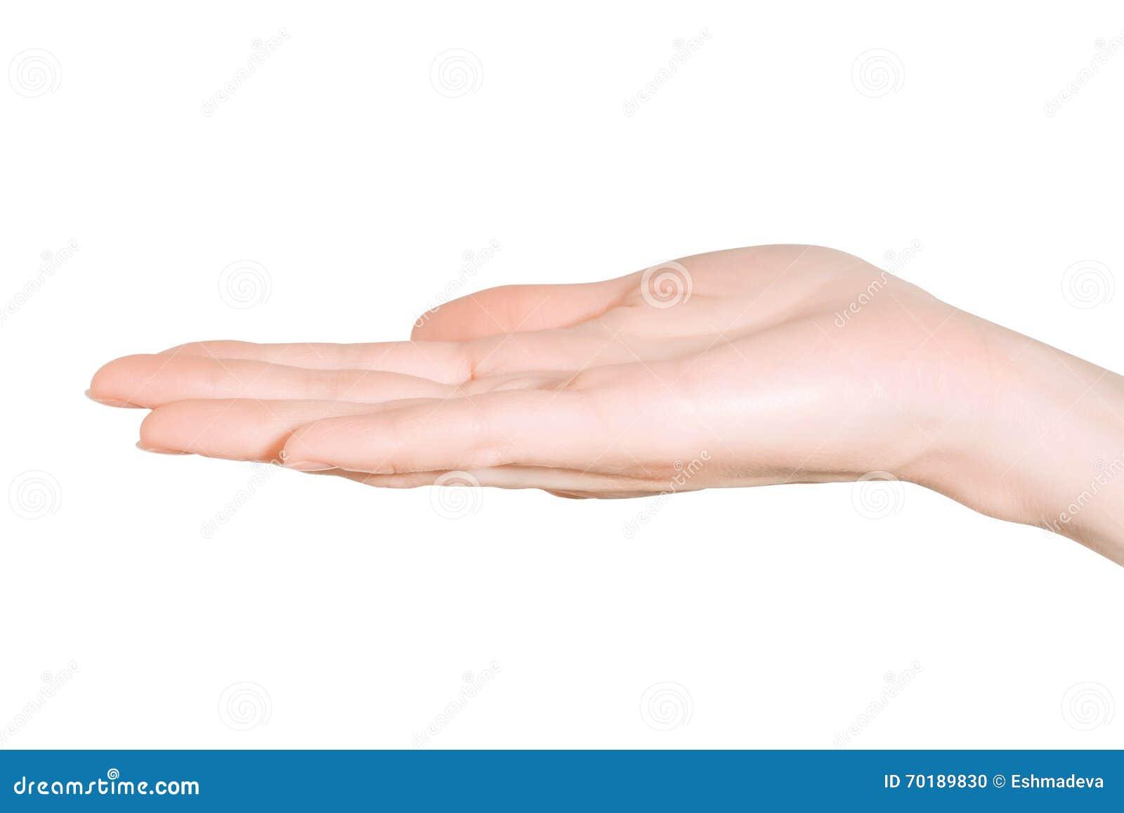 Slut upp av kvinnahanden på vit bakgrund