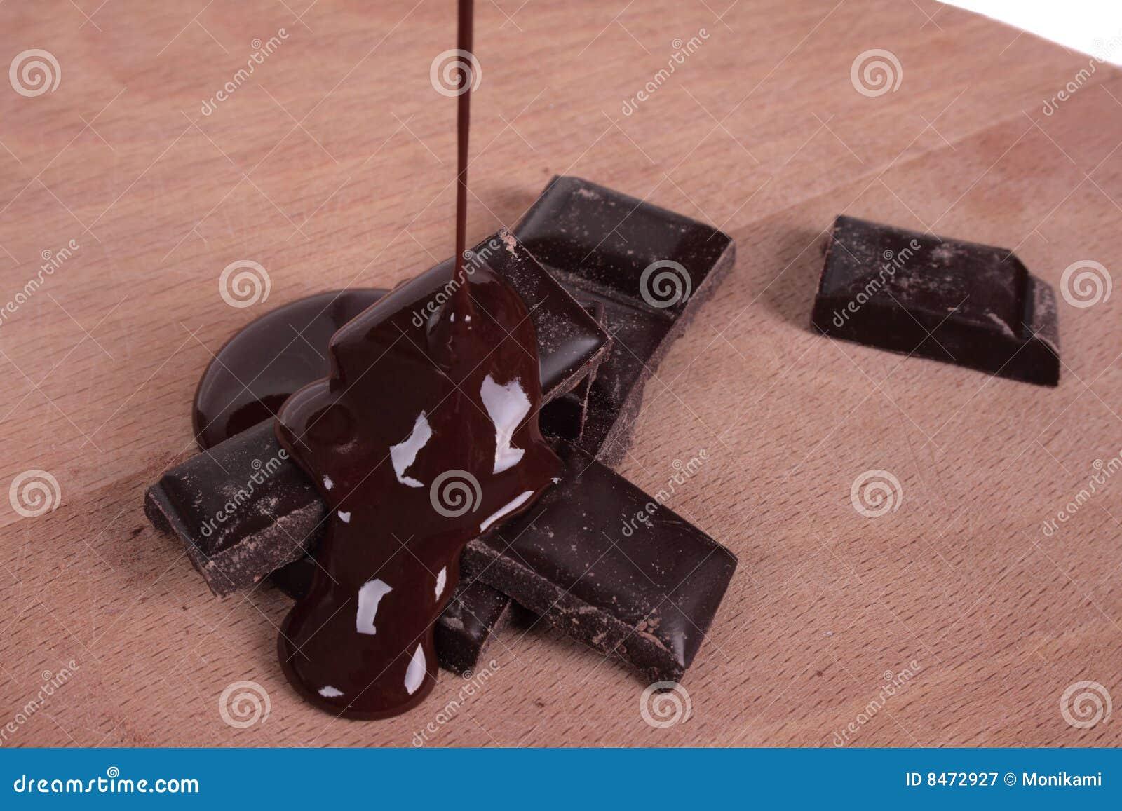 Smältt stångchoklad