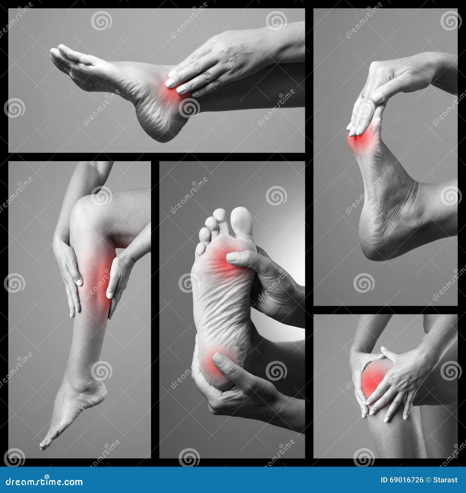Smärta i foten Massage av kvinnlig fot Skav på kvinnaben Smärta i människokroppen på en grå bakgrund Collage av kroppsdelnollan