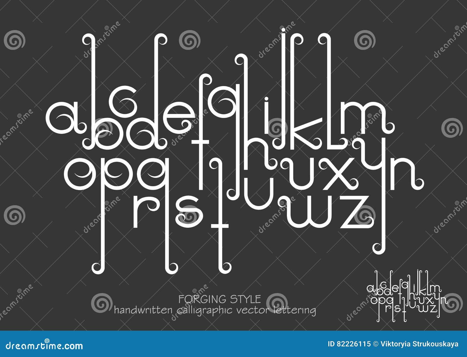 Små bokstäver med dekorativa krusidullar i smidet utformar
