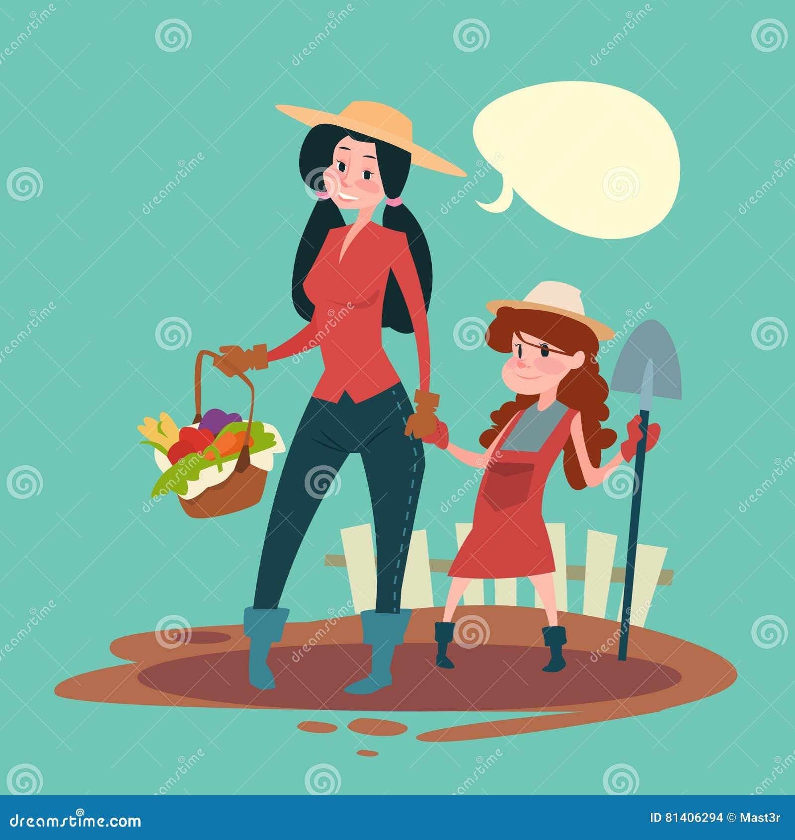 Små flickabönder dotter och utrymme för kopia för baner för skörd för moderhållspade växande