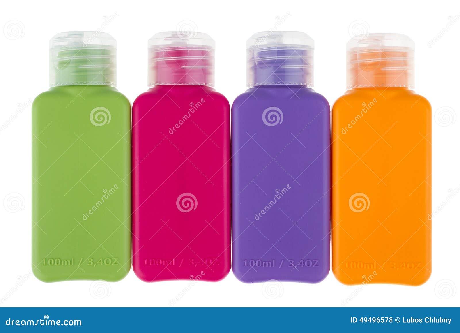små flaskor för resan