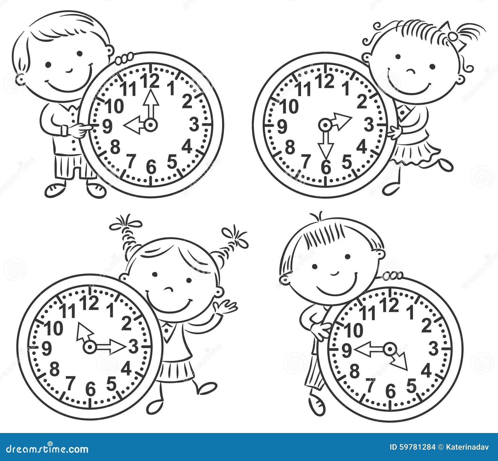 Små ungar som berättar tiduppsättningen