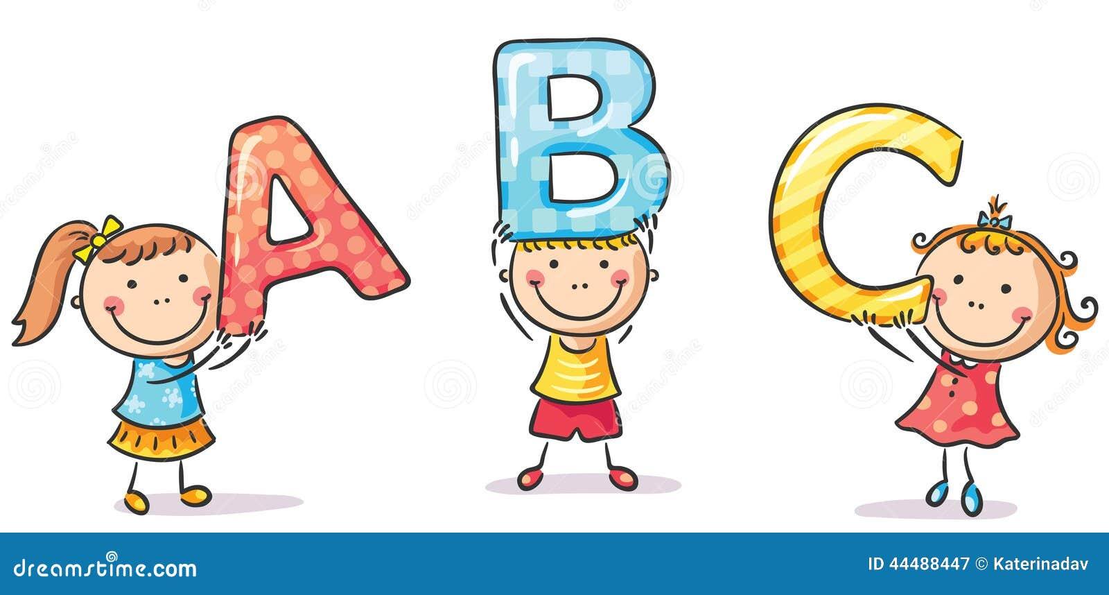 Små ungar som rymmer bokstäver