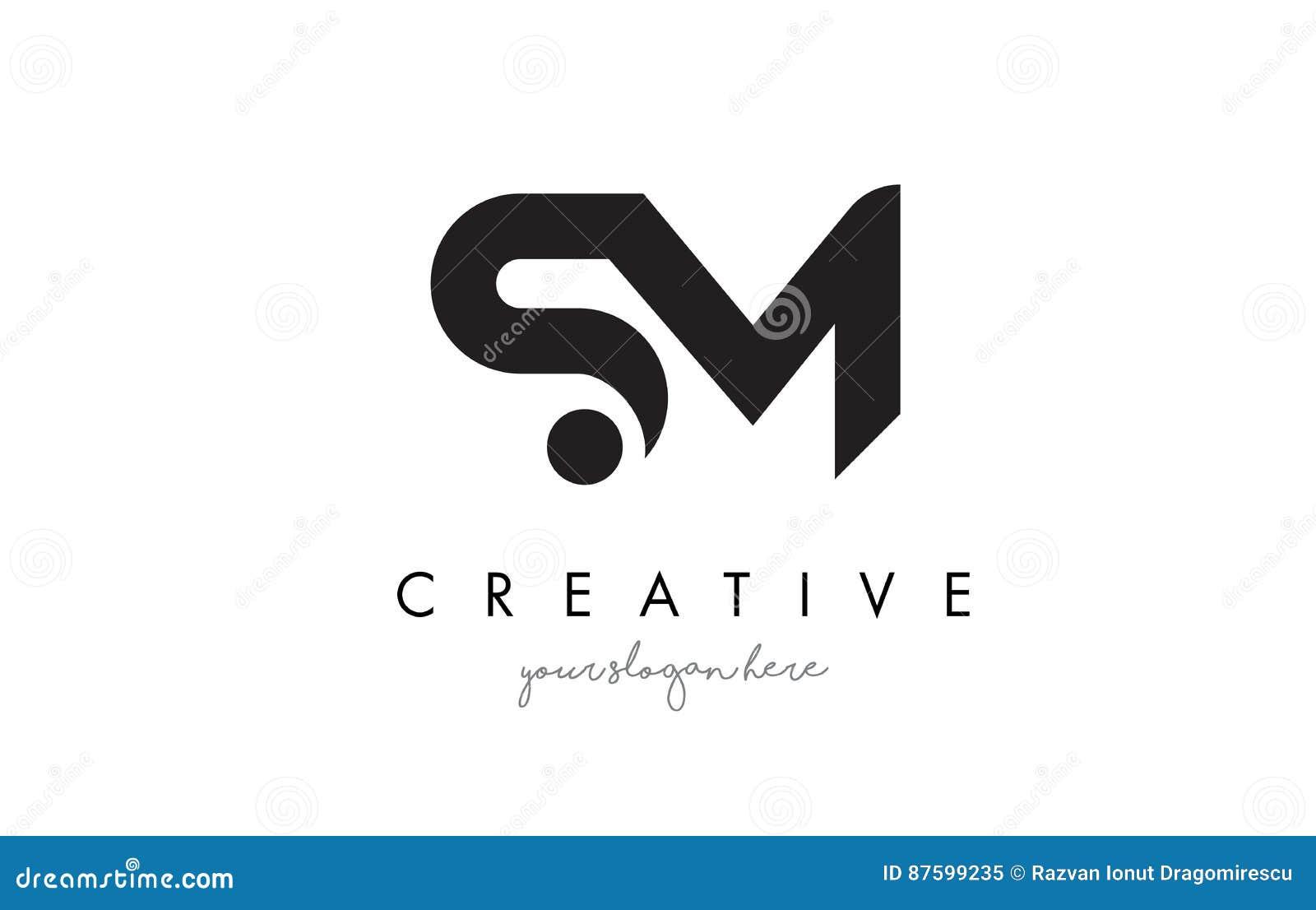 Sm Letter Logo Design With Creative Modern Trendy