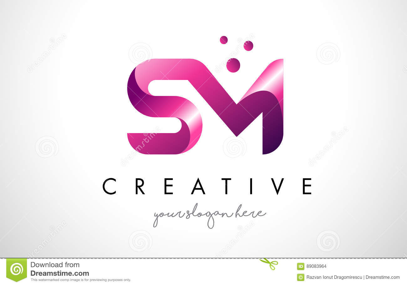 SM Letter Logo Design With Purple Colors And Dots Stock Vector ... for Logo Design Samples Free Download  59jwn