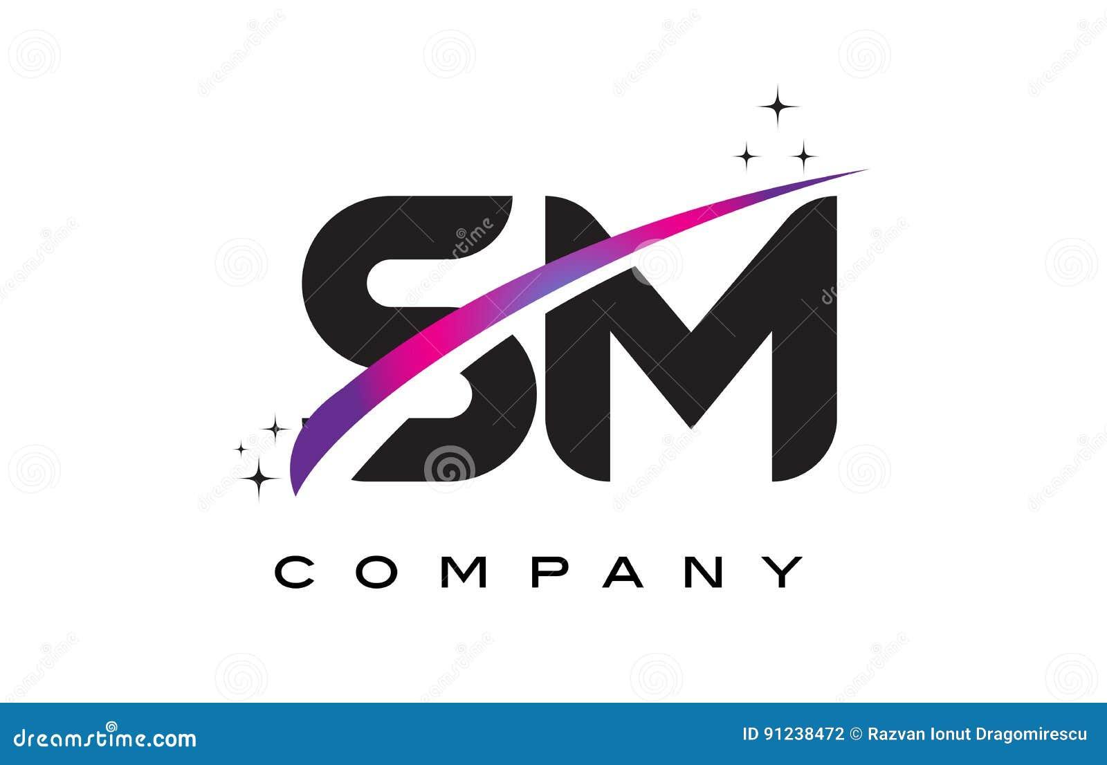 SM S M Circle Letter Logo Design With Purple Dots Bubbles