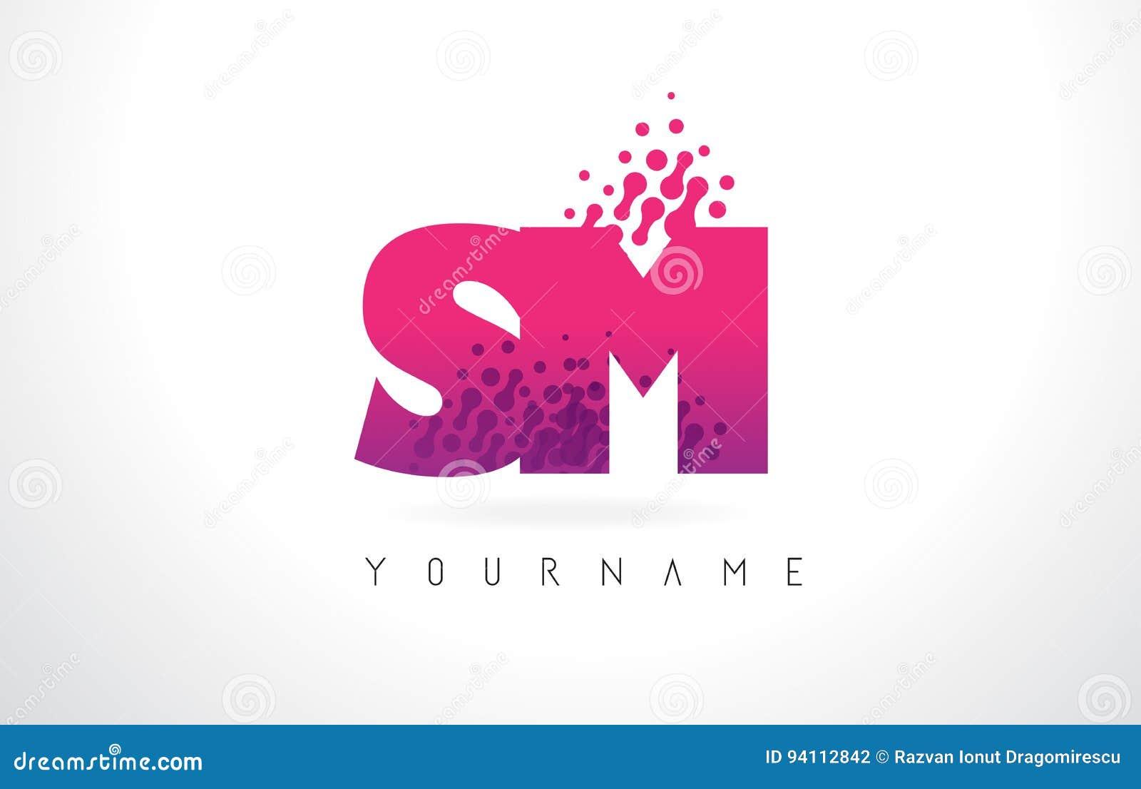SM S M Letter Logo With Pink Purple Color And Particles Dots Des ...