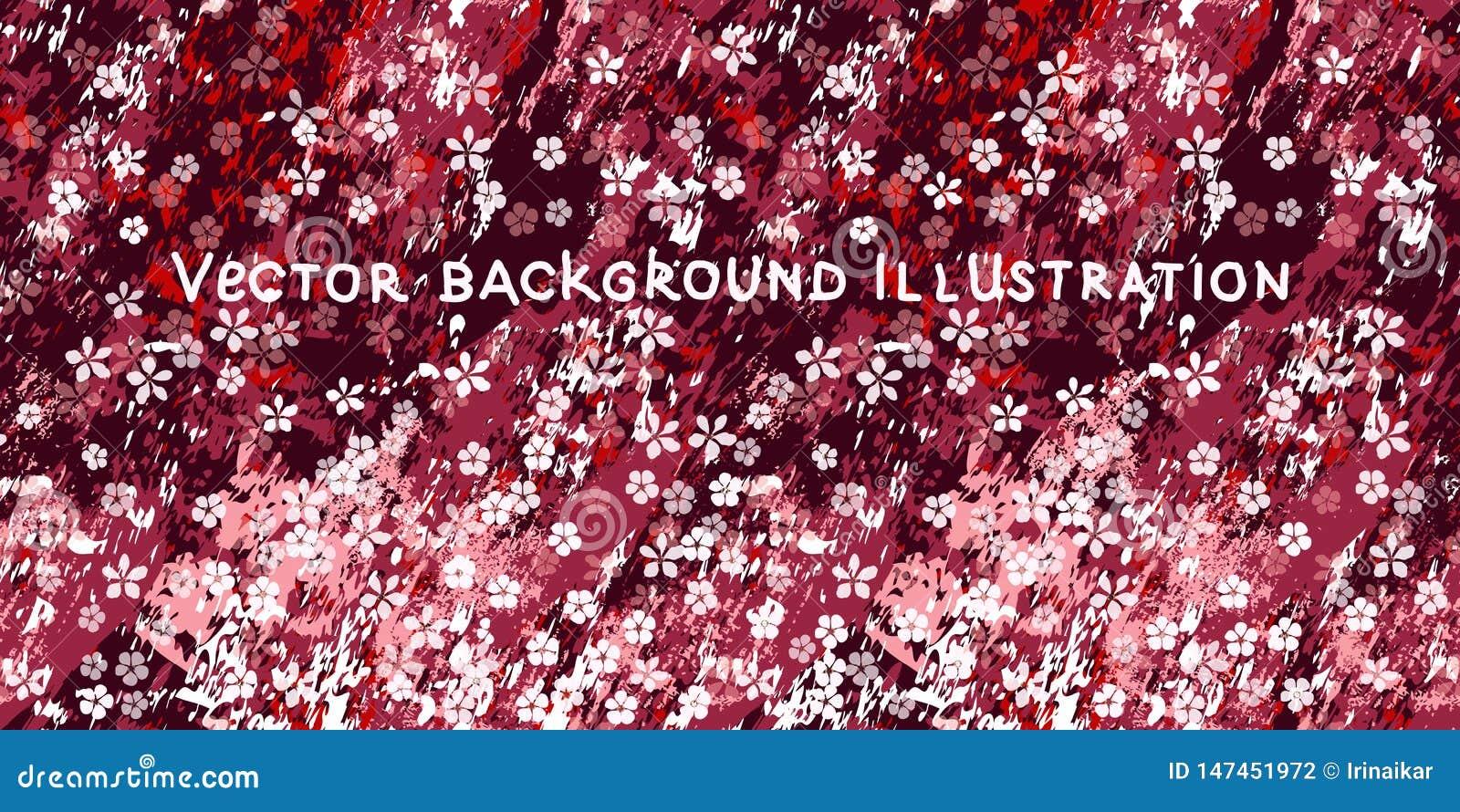 Sm? vita blommor p? texturerad burgundy, rosa och vitmarmorbakgrund