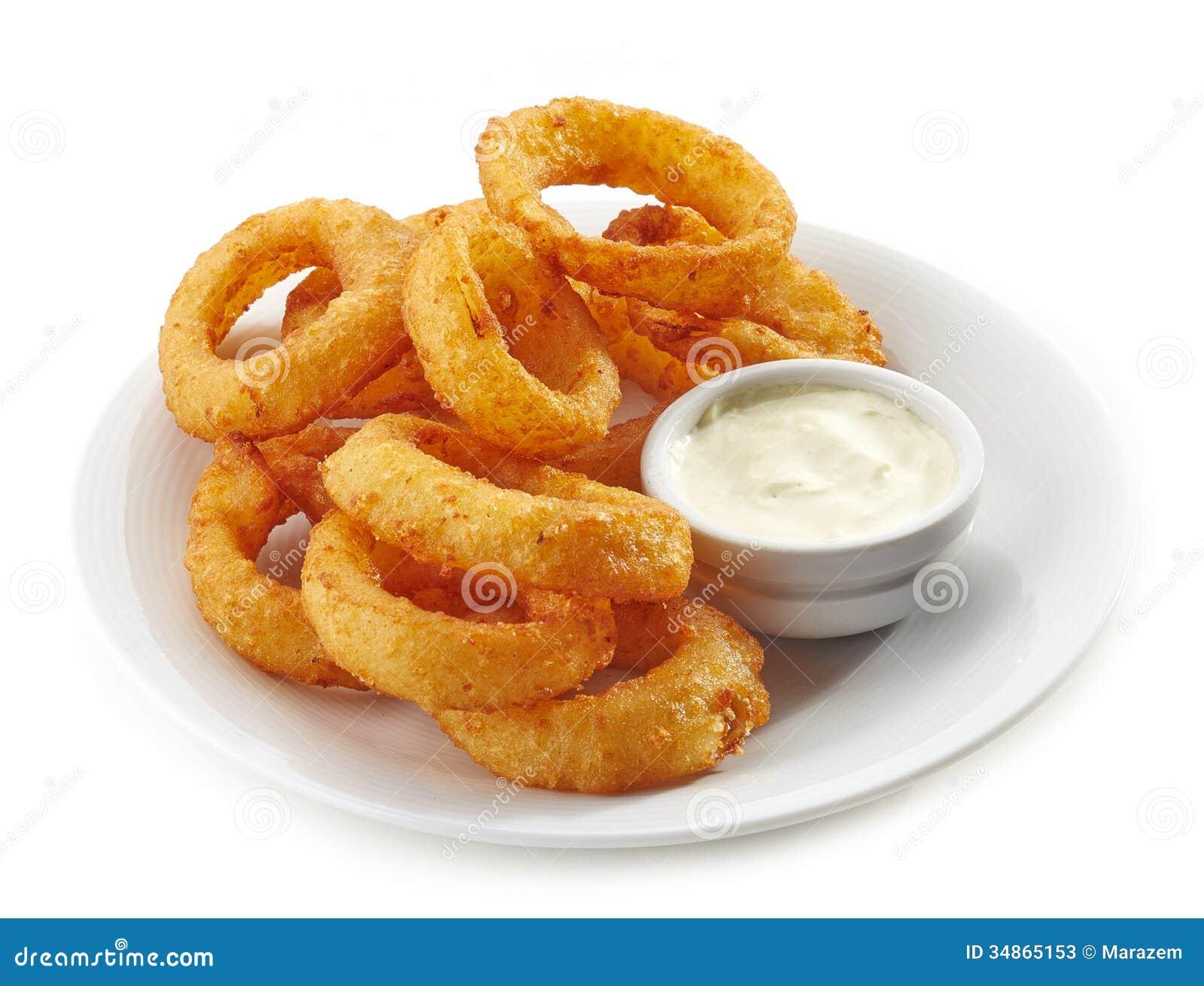 Smażący calamari pierścionki