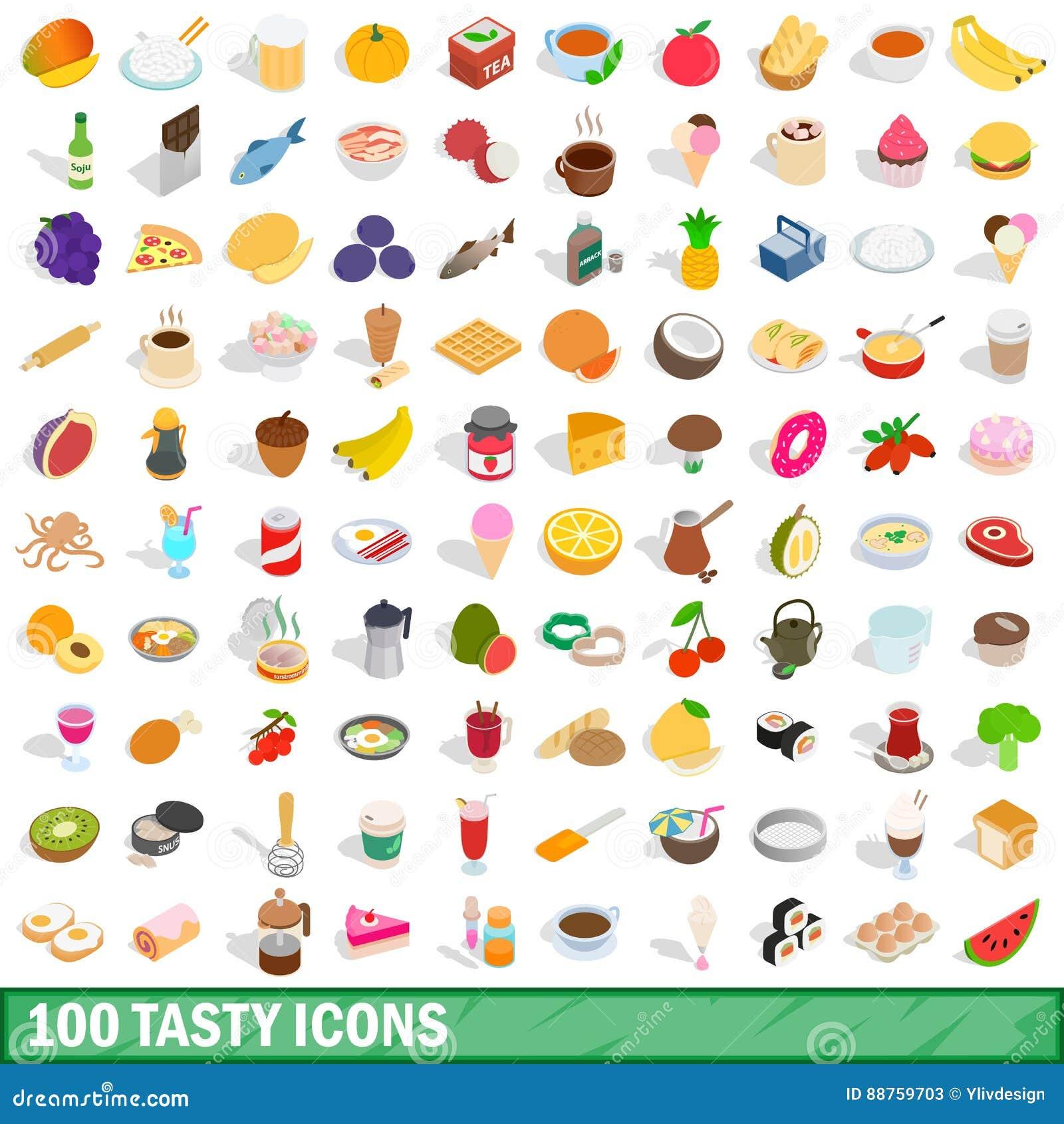 100 smakelijke geplaatste pictogrammen, isometrische 3d stijl