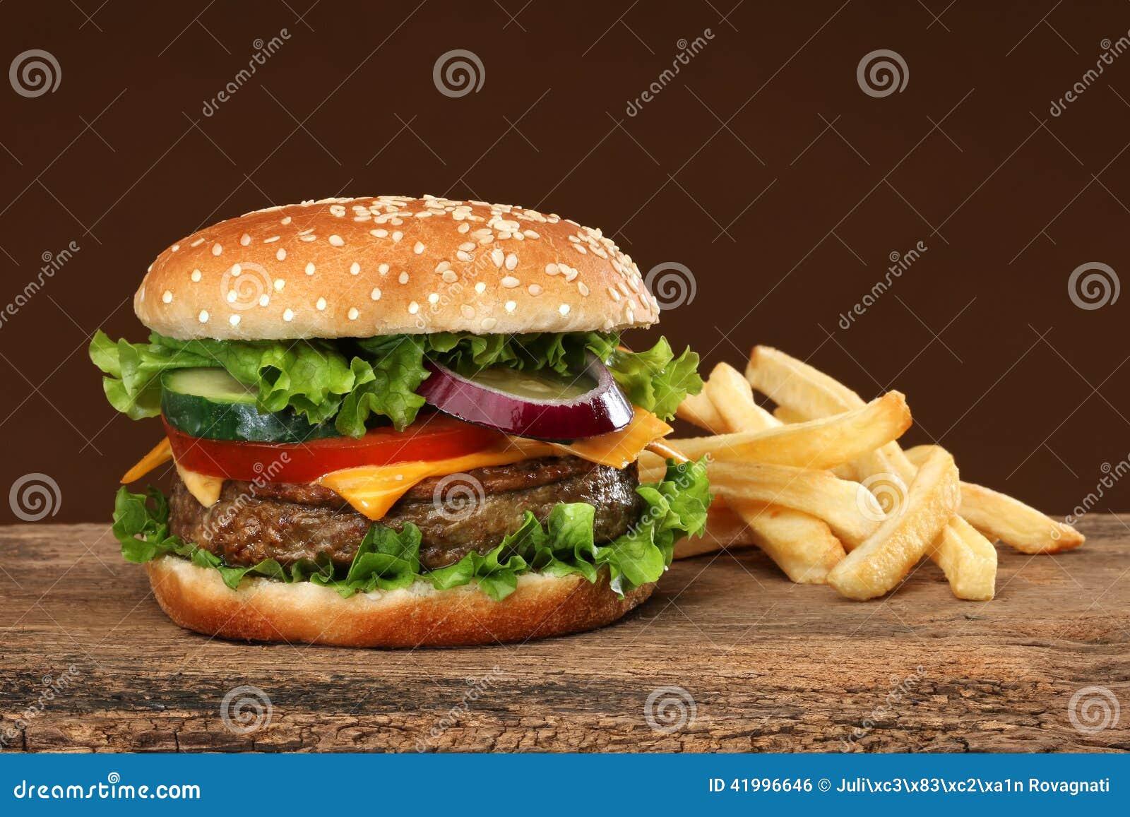 smakelijke hamburger en franse frites stock foto afbeelding 41996646. Black Bedroom Furniture Sets. Home Design Ideas