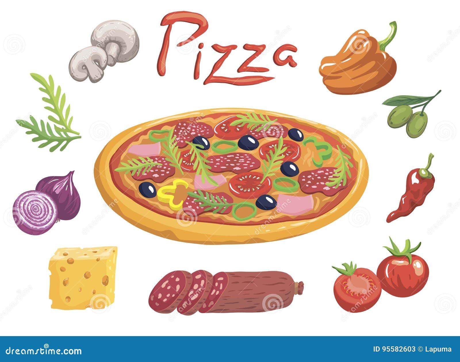Smakelijke Italiaanse pizza en ingrediënten voor zijn voorbereiding