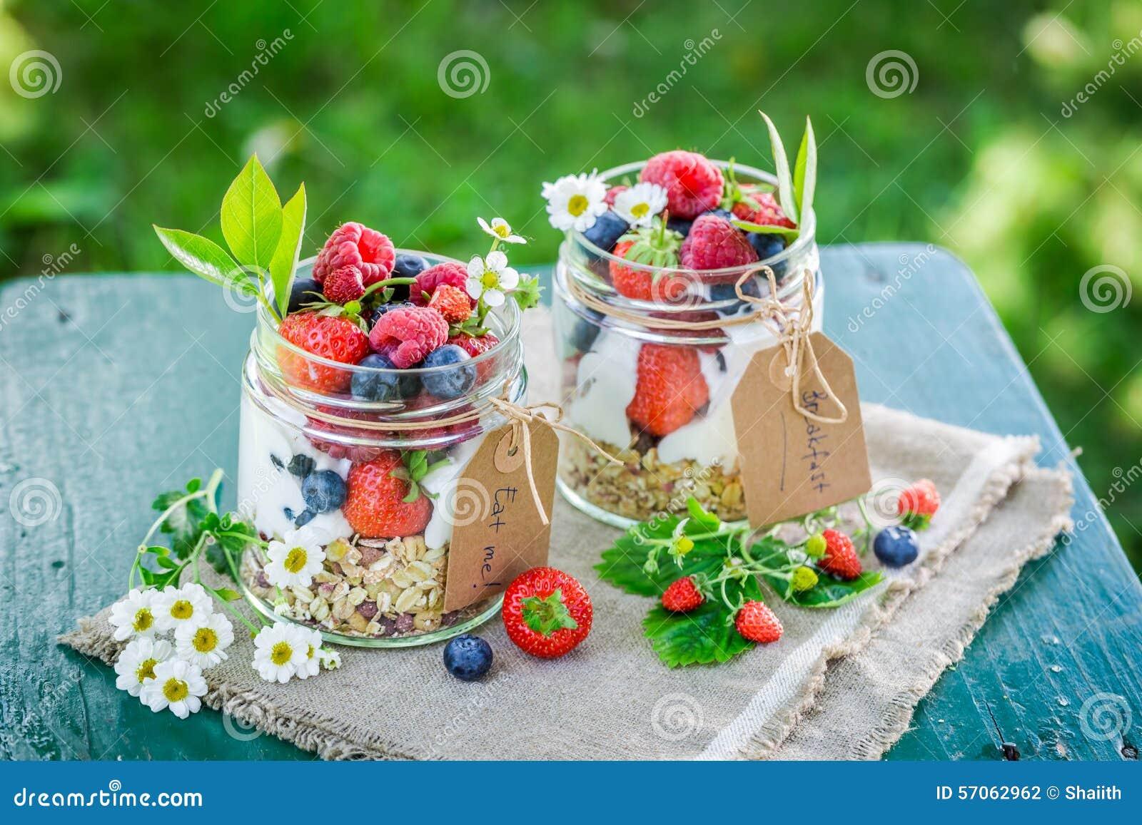 Smakelijke muesli met yoghurt en bessen in tuin