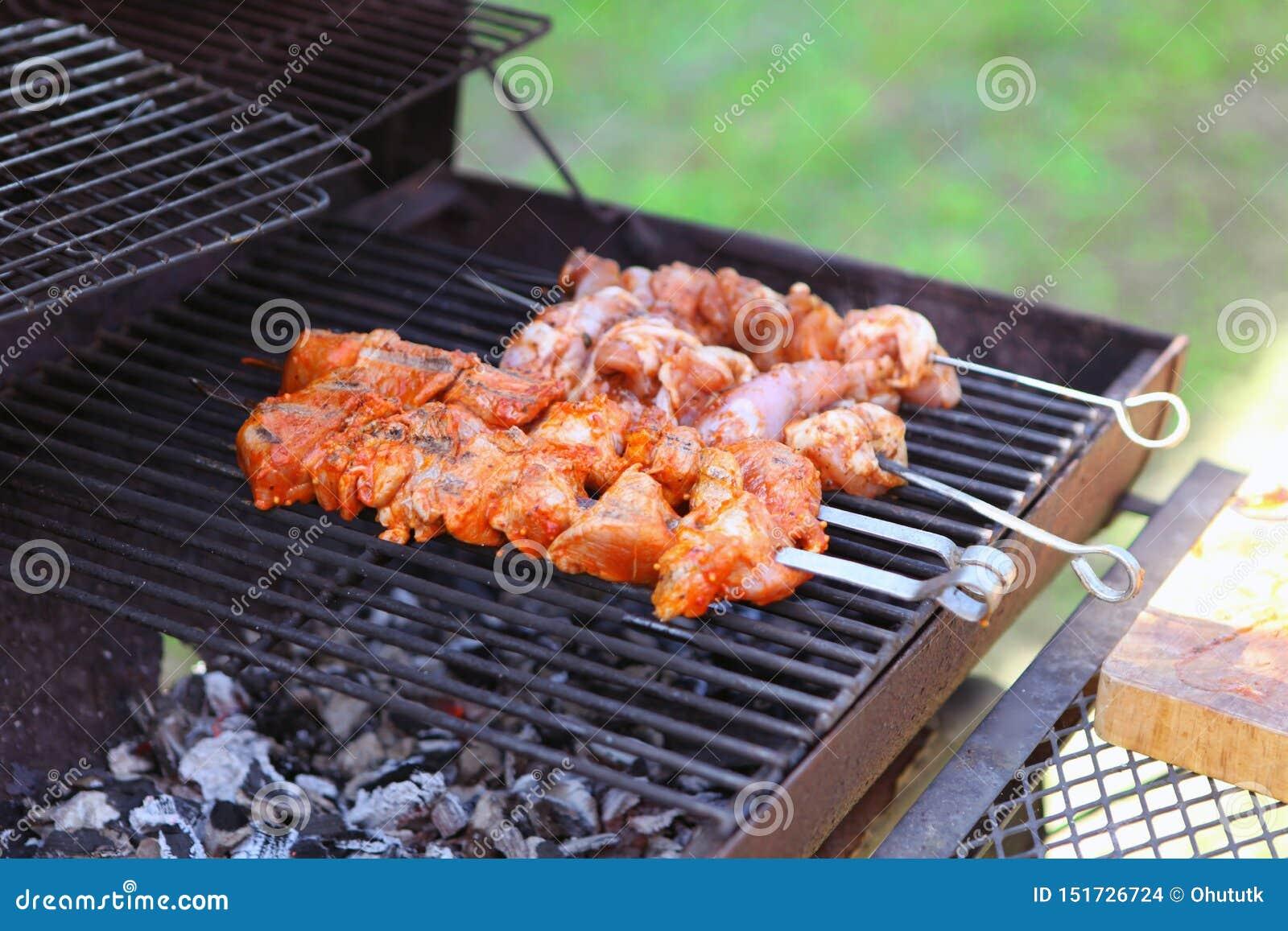 Smakelijke vleeslapjes vlees op de grill met steenkolen Heerlijke grill bij picknick
