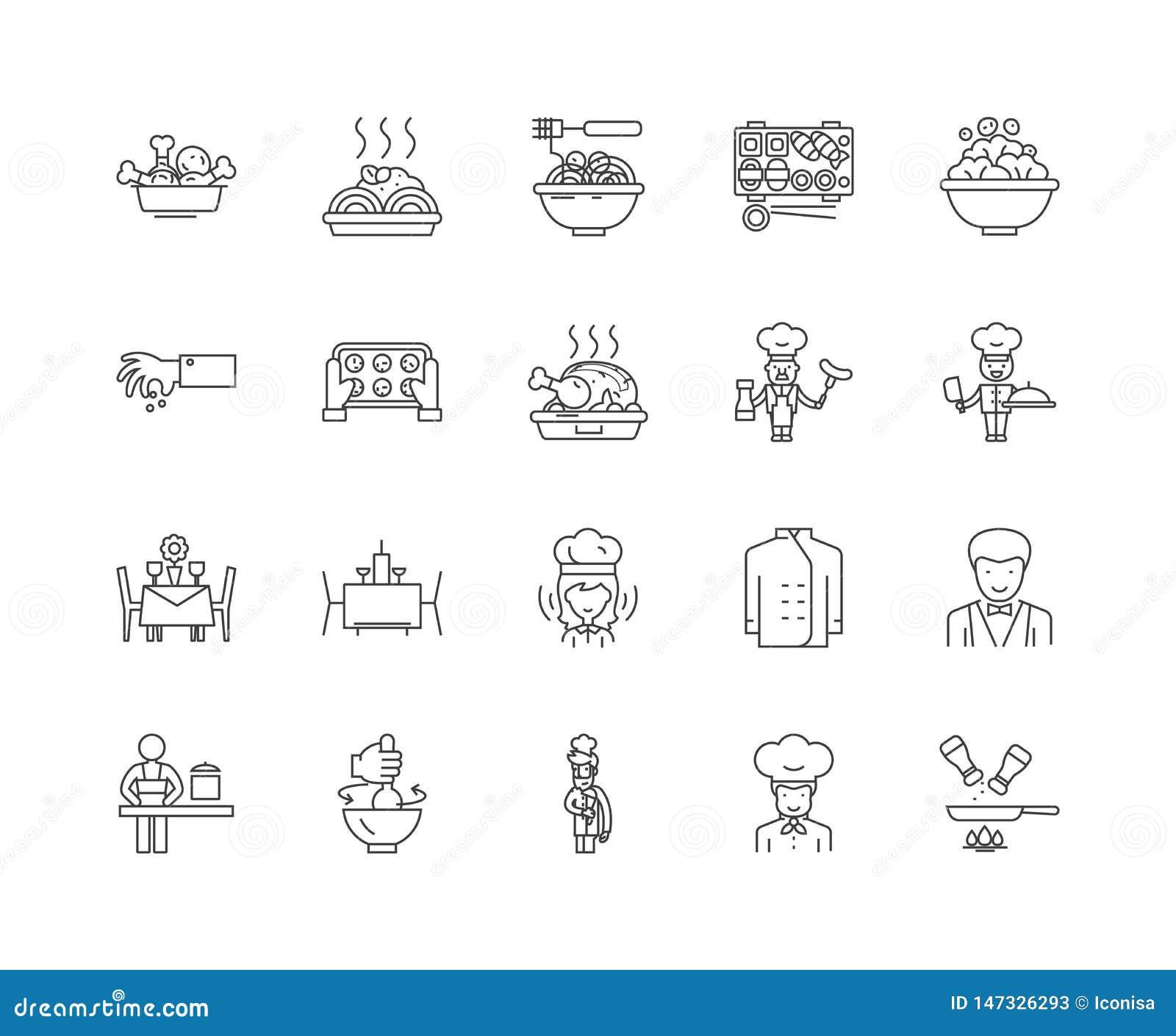 Smakosz kreskowe ikony, znaki, wektoru set, kontur ilustracji pojęcie