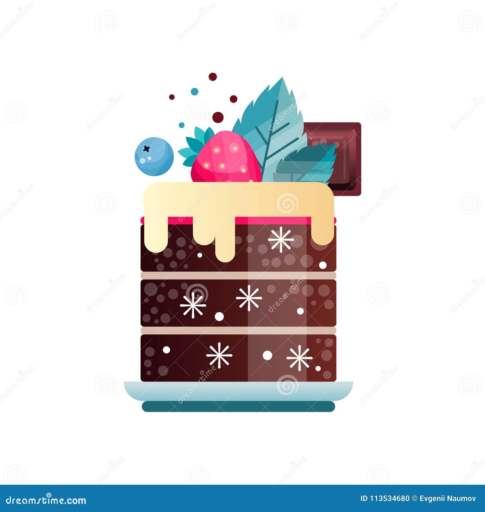 Smakowity deser dekorujący z śmietanką, kawałkiem czekolada, liśćmi, dojrzałą truskawką i czarną jagodą, Płaska wektorowa ikona z