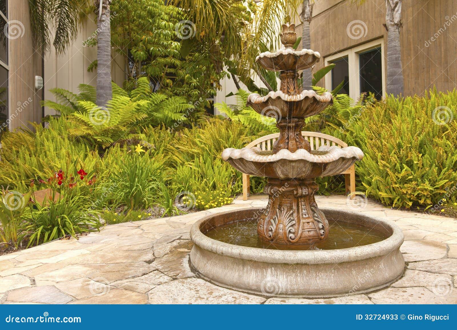 Smal Backyard Garden Fountain San Diego California Stock