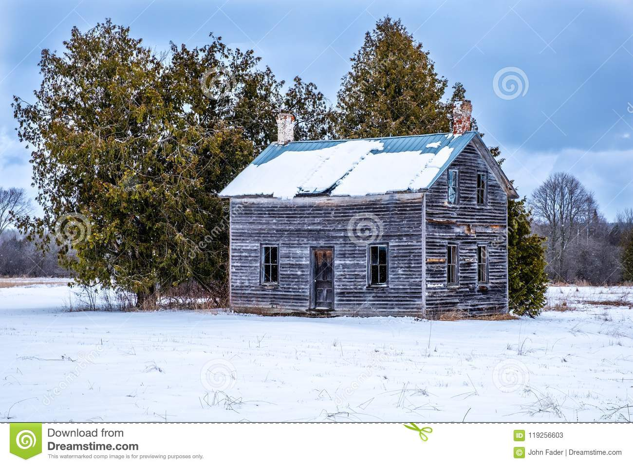 Small Abandoned Farm House In Winter Stock Image - Image of