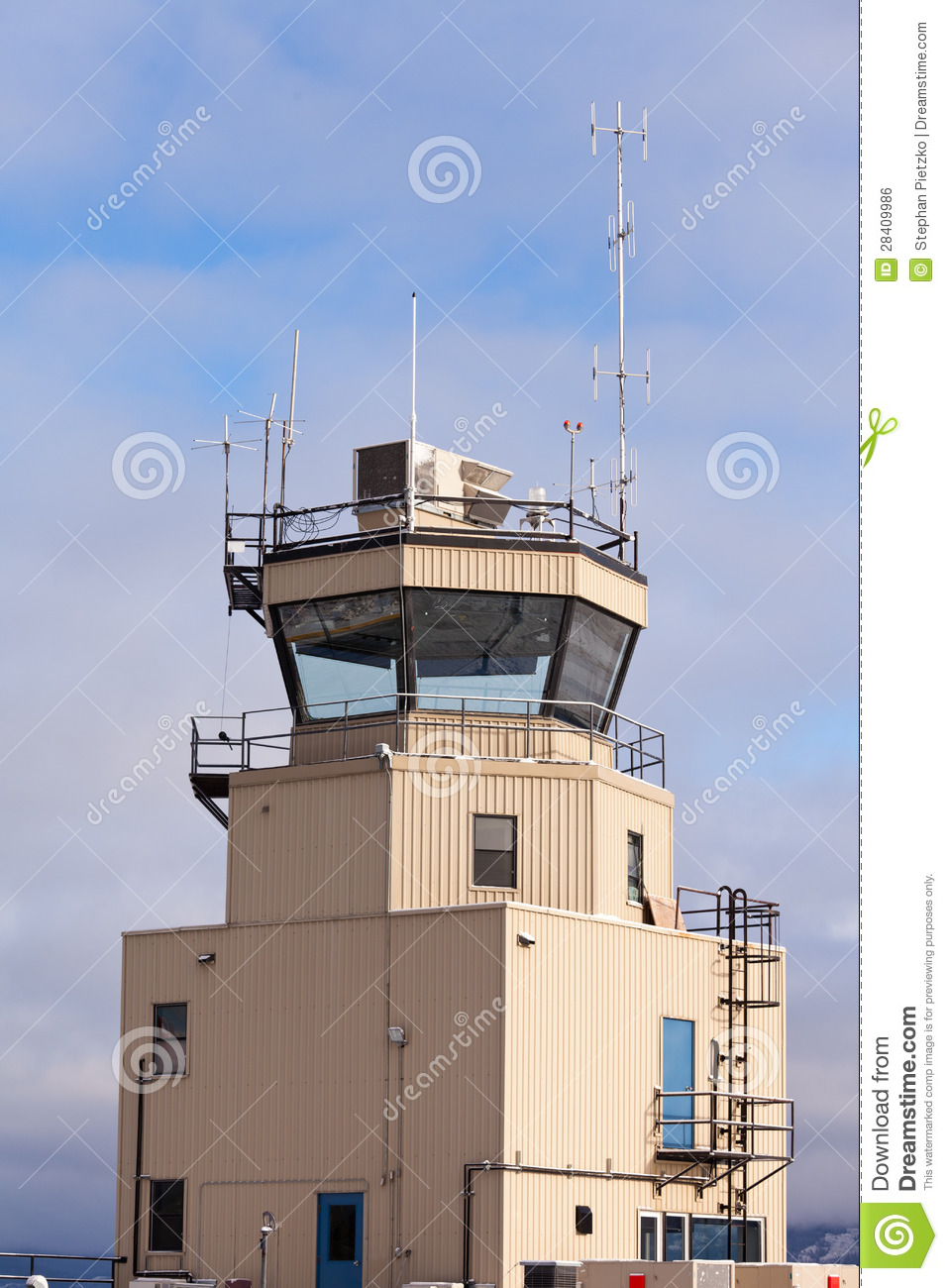 Small Air Traffic Control Tower Big Glass Windows Stock