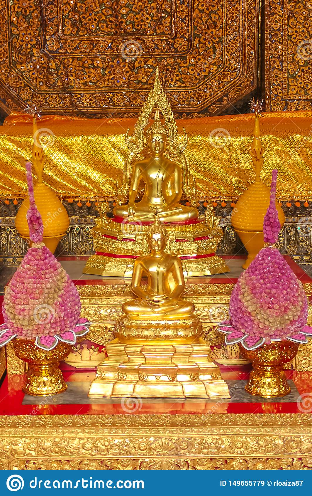Small altar of worship to Buddha at Wat Phra Kae, Temple of the Emerald Buddha