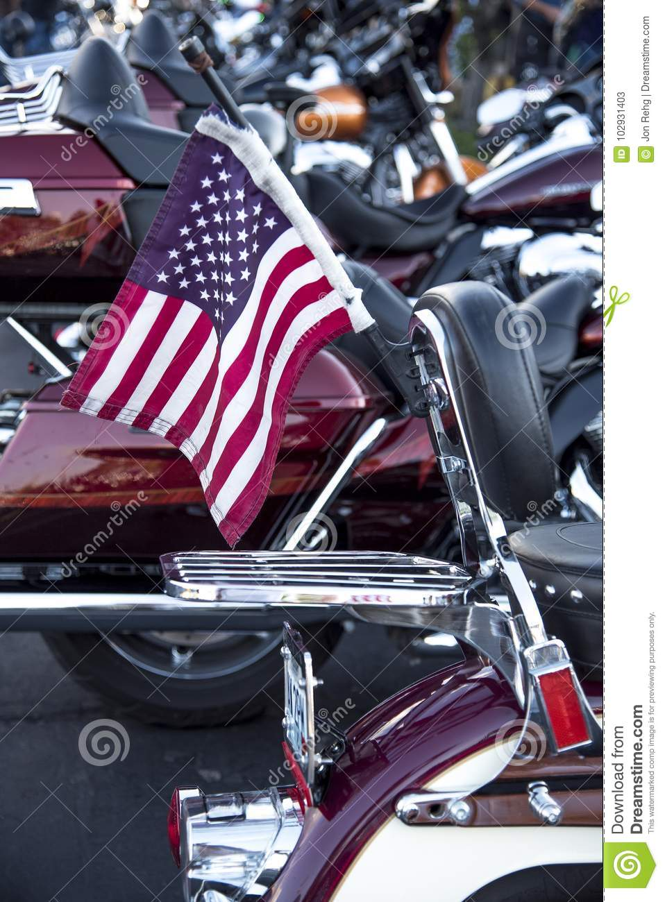 Small Red White And Blue American Flag On Back Of Motorcycle